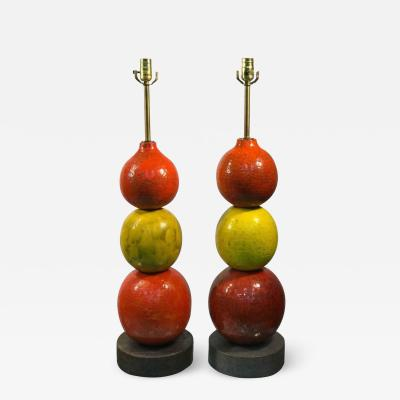 Bitossi Pair of Rare and Unusual Italian Ceramic Ball Lamps by Bitossi Modern
