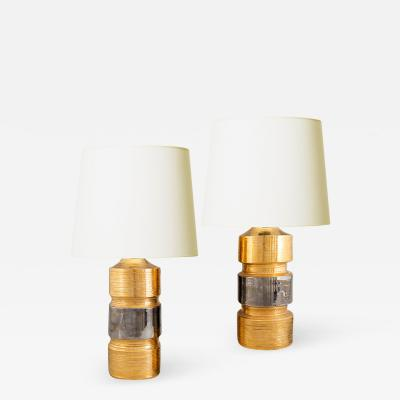 Bitossi Pair of Table Lamps in Gilded Ceramic by Bitossi for Bergboms AB