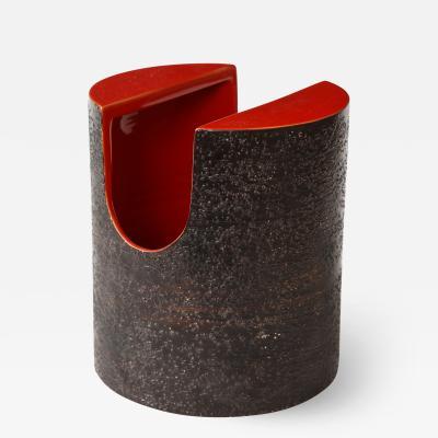 Bitossi Red Glaze Ceramic Vase with Black Matte Exterior by Bitossi Italy c 1960s