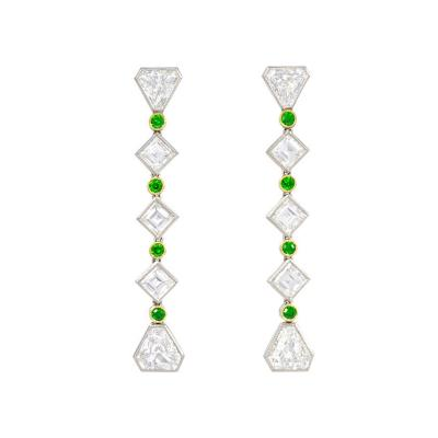 Black Starr Frost Art Deco Black Starr Frost Diamond and Demantoid Garnet Earrings