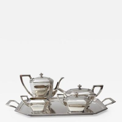 Black Starr Frost Art Deco Sterling Silver Five Piece Coffee Tea Service by Black Starr and Frost