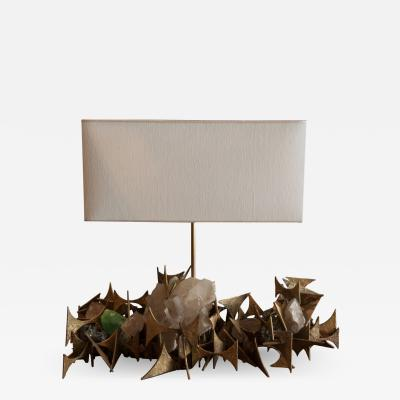 Blend Roma Handcrafted Sculptural Table Lamp in bronze and Quartz Italy 2019