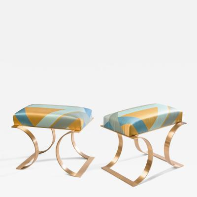 Blend Roma Pair of Handcrafted Stools in Brass and Printed Silk Italy 2021