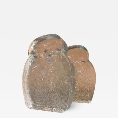 Blenko Glass Co 1960s BLENKO Glass OWL Bookends Midcentury Modern Joel Myers USA