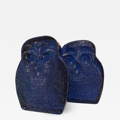 Blenko Glass Co 1960s Blenko Cobalt BLUE Glass Bookends OWL Midcentury Modern Joel Myers USA