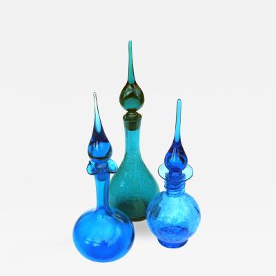 Blenko Glass Co A rare set of 3 American art glass decanters by Joel Myers Blenko Glassworks