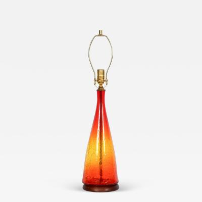 Blenko Glass Co Blenko Glass Co Amberlina Crackle Glass Table Lamp 1960s