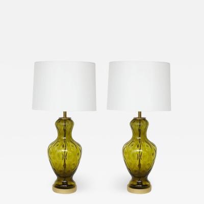 Blenko Glass Co Blenko Green Glass Lamps