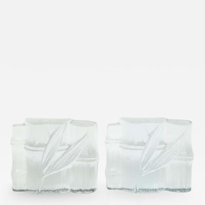 Blenko Glass Co Blenko Stylized Bamboo Glass Bookends