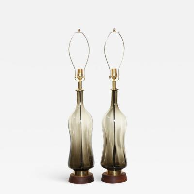Blenko Glass Co Monumental Pair of Blenko Olive Hourglass Glass Table Lamps 1950s