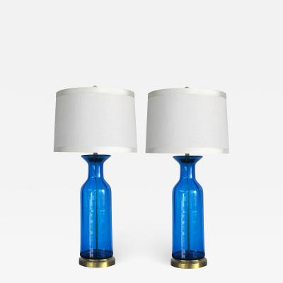 Blenko Glass Co Striking pair of blue art glass bottle form lamps possibly by Blenko Glassworks