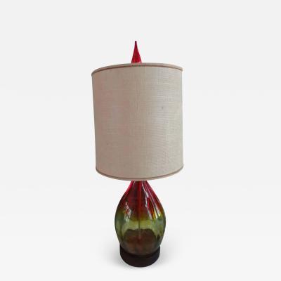Blenko Glass Co Stunning Amberina Orange Red Blenko Lamp Mid Century Modern