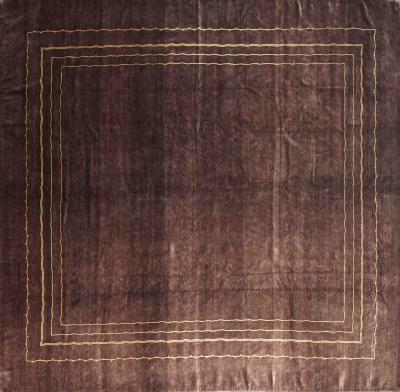 Boccara Boccara Hand Knotted Minimalist Artistic Silk Rug Design N 33 Brown