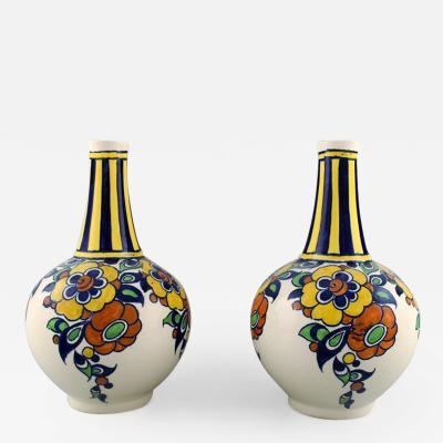 Boch Fr res Keramis Co A pair of art deco ceramic vases