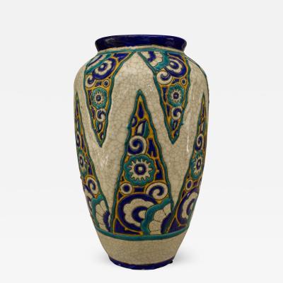 Boch Fr res Keramis Co Art Deco Belgium Crackled Earthenware Vase