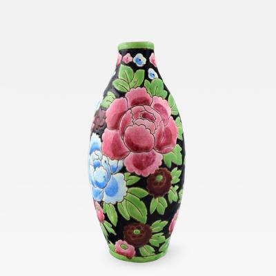 Boch Fr res Keramis Co Boch Freres Keramis Belgium Large hand painted art deco ceramic vase