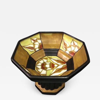 Boch Fr res Keramis Co Catteau Geometric Large Pedestal Bowl Boch Belgian Ceramic