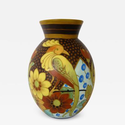 Boch Fr res Keramis Co Charming lyre bird floral vase by Boch Freres Keramis Charles Catteau