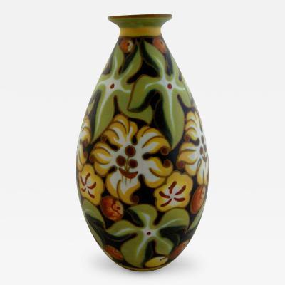 Boch Fr res Keramis Co Hand Painted Art Deco Vase by Vitorrio Bonuzzi For Boch Freres Keramis