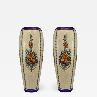 Boch Fr res Keramis Co Pair of Art Deco Belgian Crackled Earthenware Vases