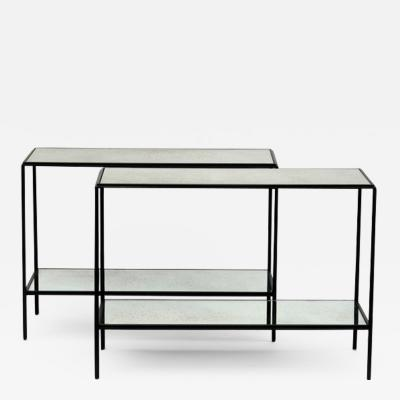 Boch Fr res Keramis Co Pair of Rectiligne Narrow Mirrored End Table