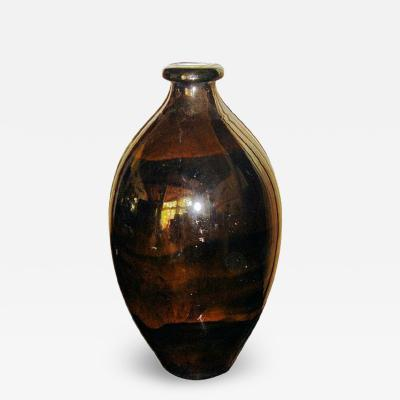 Boch Fr res Keramis Co Rare Back and Gold Iridescent Boch Vase Catteau