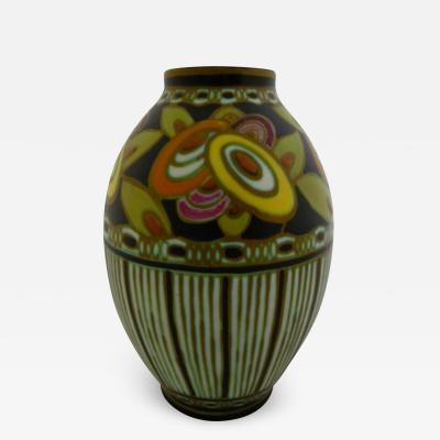 Boch Fr res Keramis Co Rare Matte Enamel Vase designed by Charles Catteau for Boch Freres Keramis