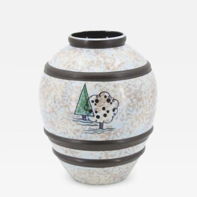 Boch Fr res Keramis Co Raymond Chevallier Boch Fr res Matte blue grey cloudy glaze ceramic vase