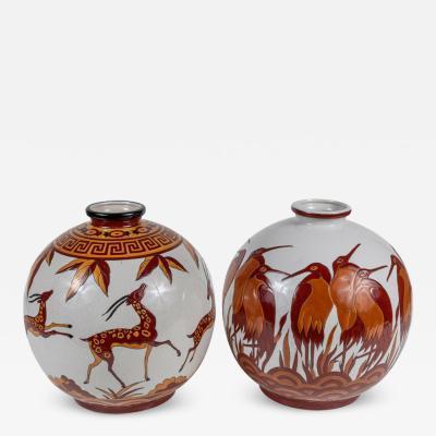 Boch Fr res Keramis Co Signed Painted Belgian Vases