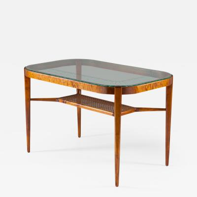 Bodafors Swedish Modern Coffee Table in Birch Glass and Rattan by Bodafors 1940s