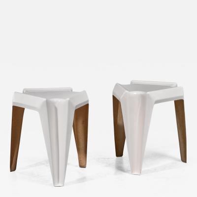 Bofinger Pair of Bofinger fiberglass side tables by Helmut B tzner