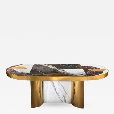 Bohinc Studio Half Moon Marble and Brass Dining Table