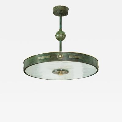 Bohlmarks AB B hlmarks Swedish Art Deco patinated brass and acid etched glass pendant