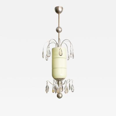 Bohlmarks AB Bohlmarks Swedish Art Deco Double Crystal Tiered Pendant