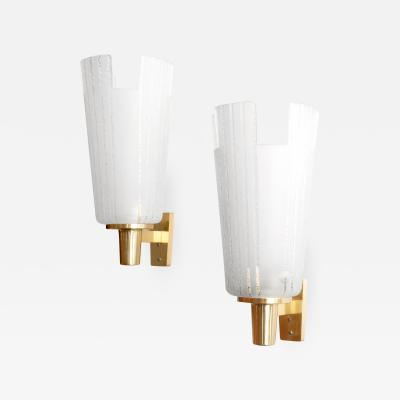 Bohlmarks AB LARGE PAIR OF B HLMARKS SCONCES WITH BRASS MOUNTS AND ETCHED GLASS SHADES