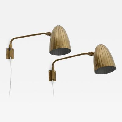 Bohlmarks AB Pair of Swedish Modern Wall Lamps by B hlmarks 1940s