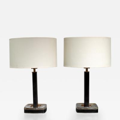 Bohlmarks AB Pair of glass and leather B hlmarks table lamps Sweden 1960s