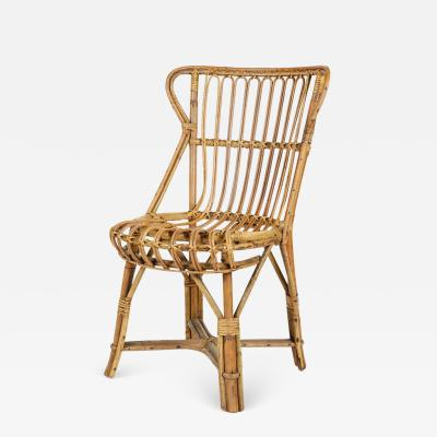 Bonacina Bonacina bamboo raffia braid chair 50s Italy