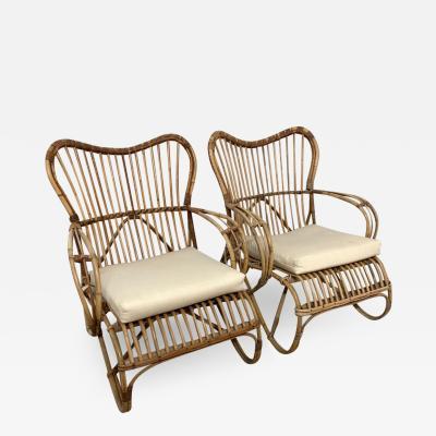 Bonacina Pair of Italian Rattan and Wicker Chairs by Bonacina