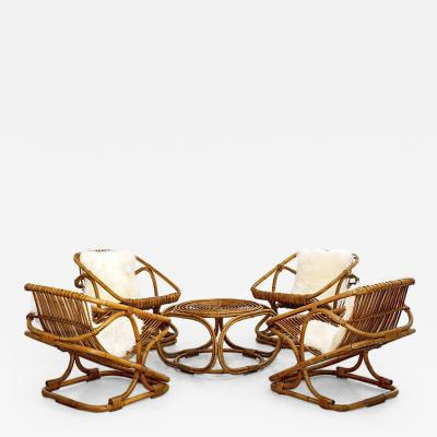 Bonacina SET OF 4 BONACINA SQUARE RATTAN CHAIRS AND TABLE