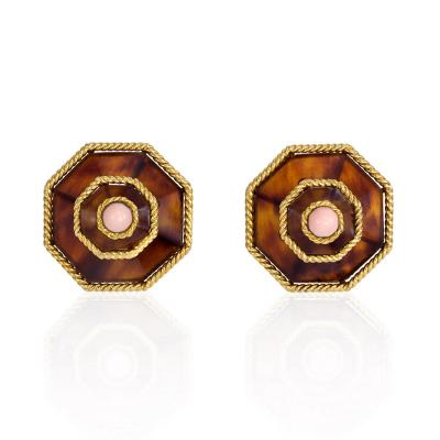 Boucheron 1970s Boucheron Tortoise Shell Coral and Gold Earrings