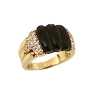 Boucheron 1970s Boucheron Wood Diamond and Gold Ring