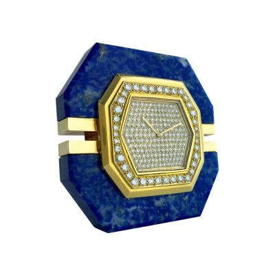 Boucheron 1980 Boucheron Diamond Lapis Lazuli Gold Clock