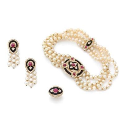 Boucheron 1980s Boucheron Diamond Ruby Onyx Pearl Set Earrings Ring Necklace