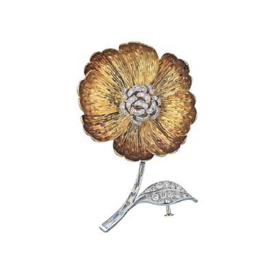 Boucheron BOUCHERON PLATINUM 18K YELLOW GOLD FLOWER DIAMOND BROOCH