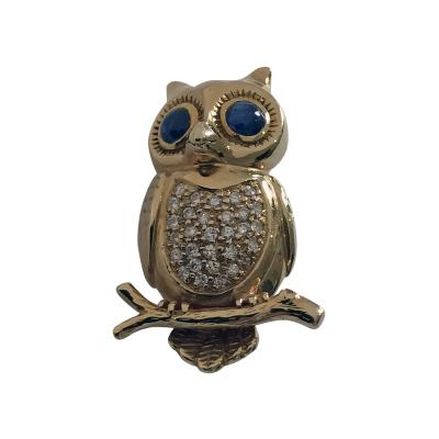 Boucheron Boucheron 18K Diamond and Sapphire Owl Brooch Pin 20th Century
