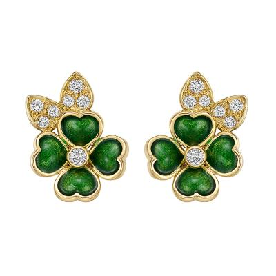 Boucheron Boucheron 18k Gold Enamel Diamond Clover Earclips