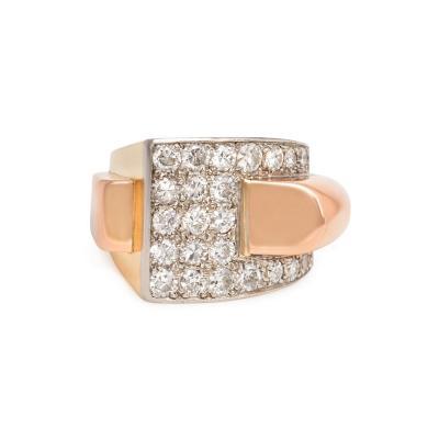 Boucheron Boucheron 1940s Two Color Gold and Diamond Sculptural Ring