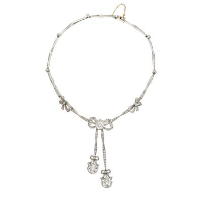 Boucheron Boucheron Belle poque Diamond Bowknot Tassel Necklace