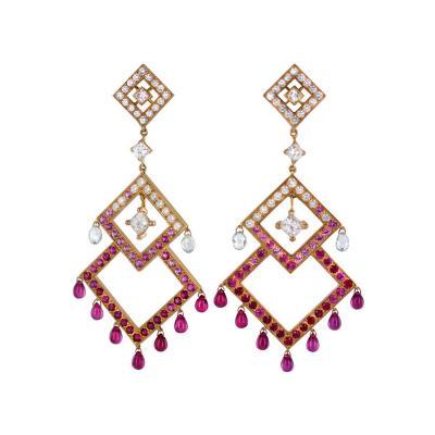 Boucheron Boucheron Diamond Ruby Pink Sapphire Chandelier Earrings